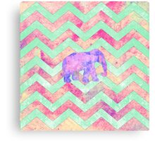 Whimsical Purple Elephant Mint Green Pink Chevron Canvas Print