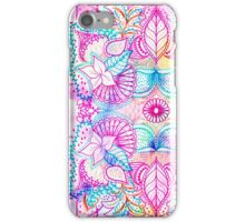 Bright psychedelic pink blue floral doodle pattern iPhone Case/Skin