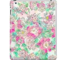 Handdrawn girly pink turquoise floral watercolor iPad Case/Skin