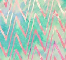 Pink Turquoise Watercolor Zigzag Chevron Pattern by GirlyTrend