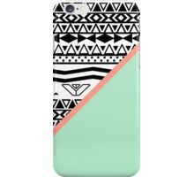 Black White Aztec Pattern Mint Green Color Block iPhone Case/Skin