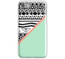 Black White Aztec Pattern Mint Green Color Block iPhone Case/Skin