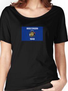 Wisconsin USA State Flag Milwaukee Bedspread T-Shirt Sticker Women's Relaxed Fit T-Shirt
