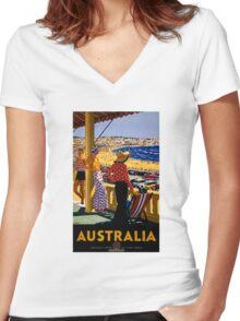 Australia Vintage Travel Poster Restored Women's Fitted V-Neck T-Shirt