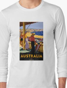 Australia Vintage Travel Poster Restored Long Sleeve T-Shirt