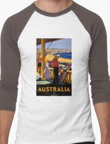 Australia Vintage Travel Poster Restored Men's Baseball ¾ T-Shirt