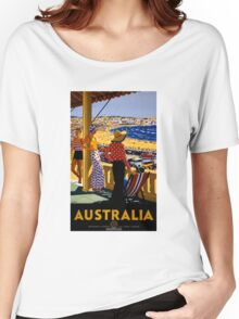 Australia Vintage Travel Poster Restored Women's Relaxed Fit T-Shirt
