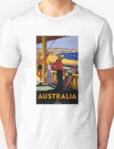 Australia Vintage Travel Poster Restored Unisex T-Shirt