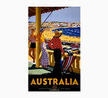 Australia Vintage Travel Poster Restored Womens Fitted T-Shirt