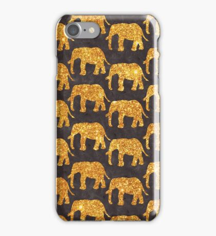 Whimsical Gold Glitter Elephants Pattern on Gray iPhone Case/Skin