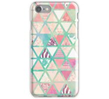 Pink Turquoise Abstract Floral Triangles Patchwork iPhone Case/Skin