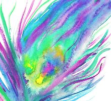 Abstract peacock feather bright watercolor paint by GirlyTrend