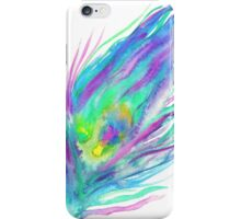 Abstract peacock feather bright watercolor paint iPhone Case/Skin