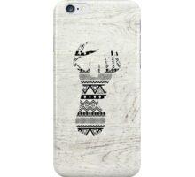 Retro Aztec Deer Head Black White Vintage Wood iPhone Case/Skin