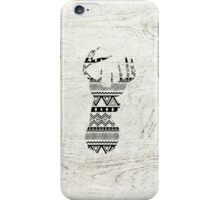 Retro Aztec Deer Head Black White Vintage Wood iPhone Case/Skin