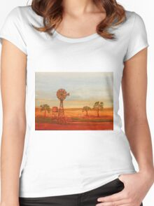 Australiana; (Red Sunset At The Windmill)  Original Sold  Women's Fitted Scoop T-Shirt