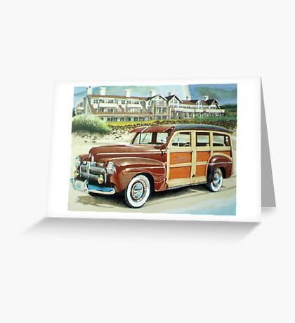 Ocean Lodge Woody Wagon Greeting Card