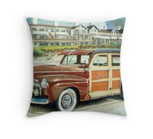 Ocean Lodge Woody Wagon Throw Pillow