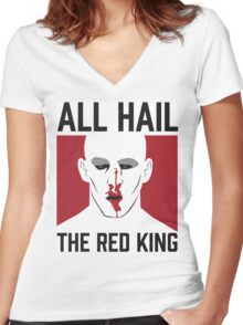 All Hail The Red King! Women's Fitted V-Neck T-Shirt