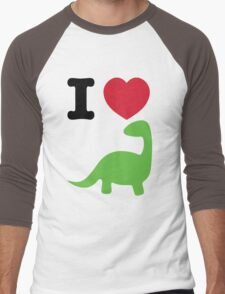 I heart dinosaur (brachiosaurus) Men's Baseball ¾ T-Shirt