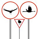 Birds traffic signs by Laschon Robert Paul