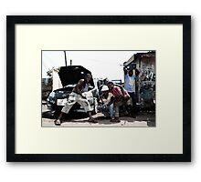 Boys with cars Framed Print