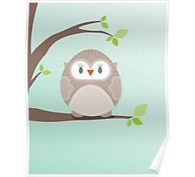 Sweet owl in a tree Poster