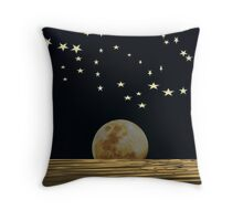 The Moon and Stars in a Night Sky with Cool Water Throw Pillow