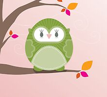 Sweet owl in a tree 3 by Kat Massard