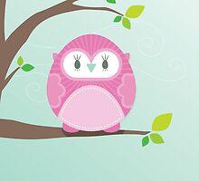 Sweet owl in a tree 4 by Kat Massard