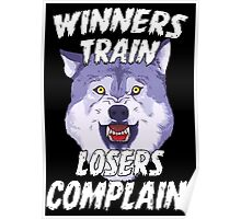 Winners Train Wolf Gym Motivational Quotes Sports  Poster