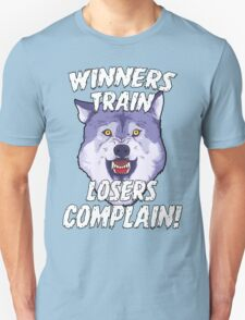 Winners Train Wolf Gym Motivational Quotes Sports  T-Shirt