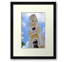 Traditional Mexican Yellow Stonewashed Church Bell Tower Framed Print