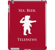 "Sex, Beer, Telepathy (""No Up"" white design) iPad Case/Skin"