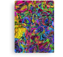Watercolor Abstract Colorful Ocean Waves Canvas Print