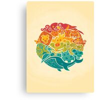 Animal Rainbow - cream Canvas Print