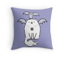 Fluffy White Witch's Cat with Bat Throw Pillow