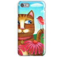 Cat in the Echinacea  iPhone Case/Skin