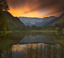 Sunset at Lake Dürrsee in Summer by Delfino