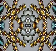 Golden Stripped Glass Droplets by BethofArt