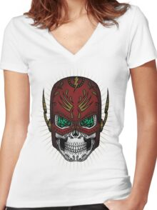 Sugar Skull Series - The Flash Women's Fitted V-Neck T-Shirt