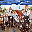 "20-06-10 ""A Jazz Band : Impromptu"" : (Watercolor : 28x38cm.) by BuaS"