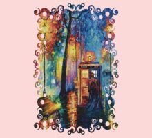 Time Traveller lost in the strange city art painting Kids Clothes