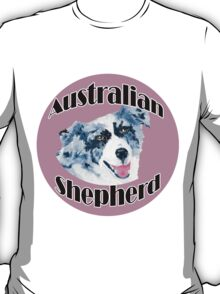 Australian Shepherd ~ Oil Painting ~ T-shirt and Stickers T-Shirt