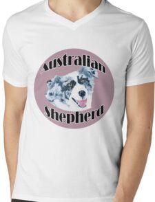 Australian Shepherd ~ Oil Painting ~ T-shirt and Stickers Mens V-Neck T-Shirt