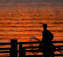 Fishing at Sunset 2 by Gene Campbell