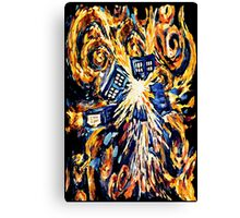 Big Bang Attack Exploded Flamed Phone booth painting Canvas Print