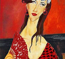 Amy with Fan (based on Amadeo Modigliani's painting) by PrivateVices