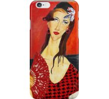 Amy with Fan (based on Amadeo Modigliani's painting) iPhone Case/Skin