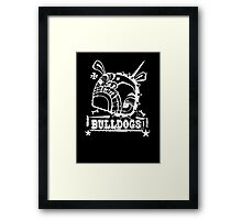 Grim the Bulldog III white on black Framed Print
